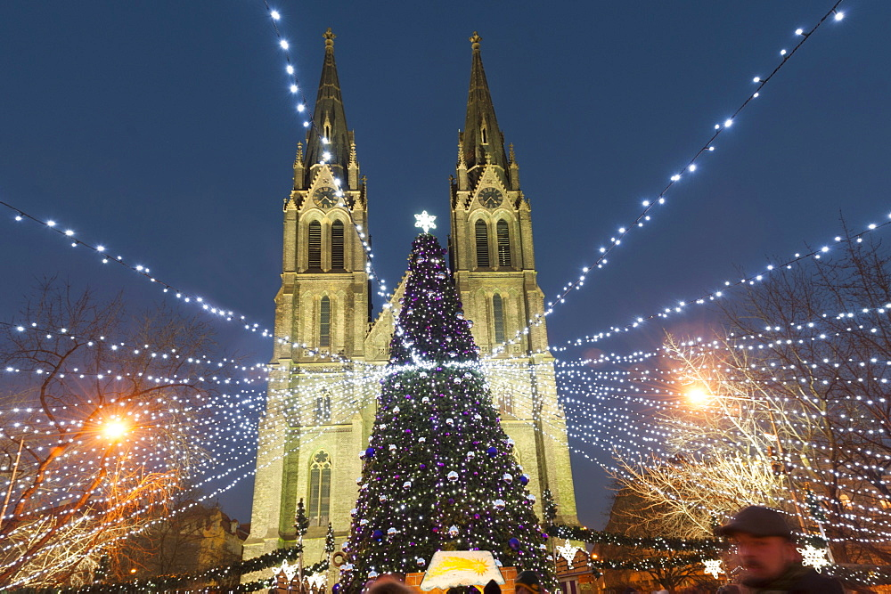 Christmas market and neo-gothic Church of St. Ludmila, Mir Square, Prague, Czech Republic, Europe  - 737-662