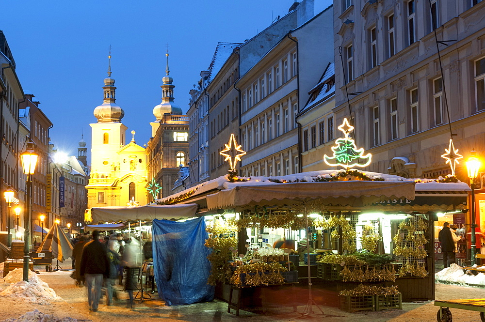 Snow-covered Havelsky Trh during Christmas, Havelska Street, Prague, Czech Republic, Europe  - 737-679