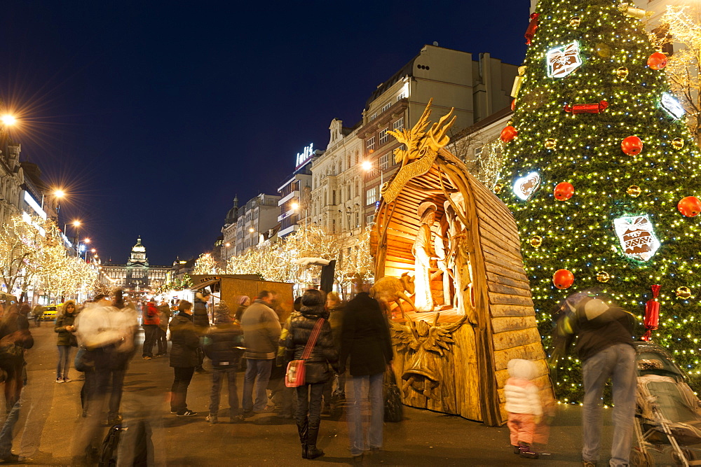 Christmas Market and Christmas tree, Nativity Scene and National Museum at Wenceslas Square during Advent evening, Nove Mesto, Prague, Czech  Republic, Europe - 737-692