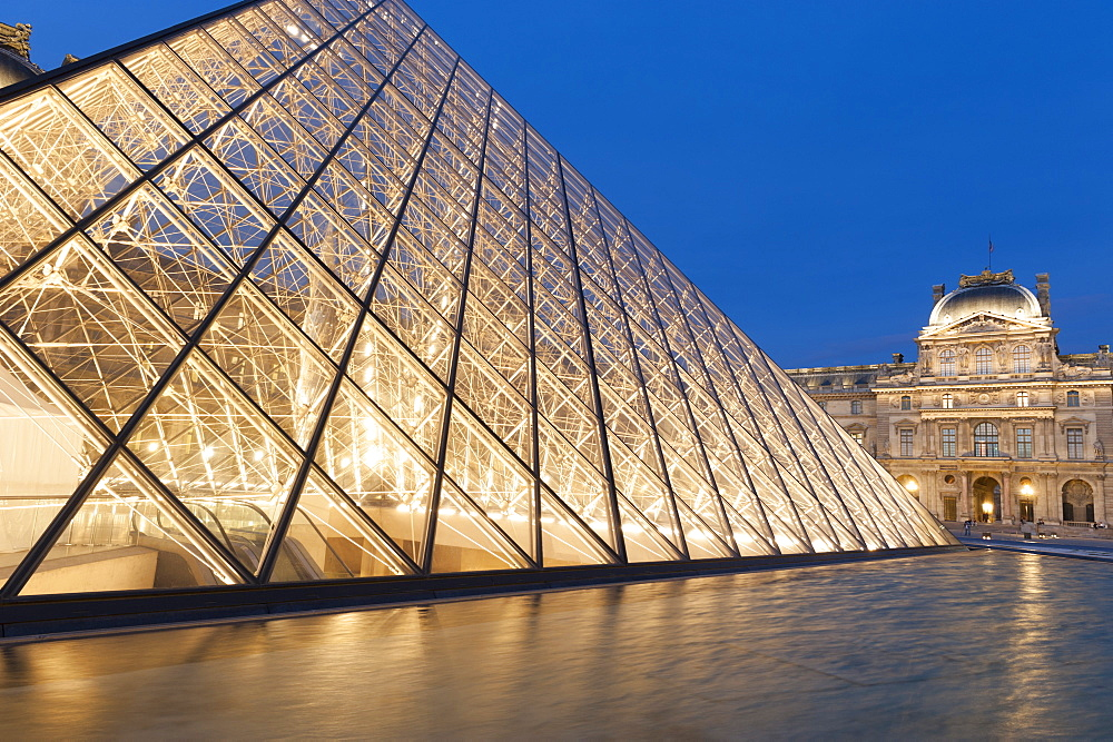 Glass pyramid, Louvre, Paris, France.