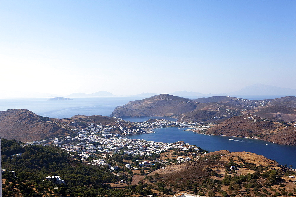 View from the Monastery of St. John the Evangelist, Patmos, Dodecanese, Greek Islands, Greece, Europe