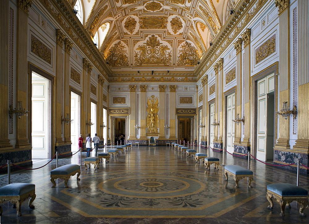 Throne room, Royal Palace, Caserta, Campania, Italy, Europe