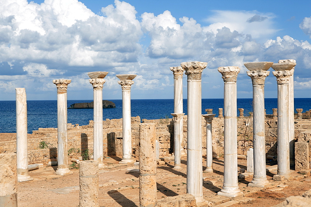 View from the central basilica, Apollonia, Libya, North Africa, Africa