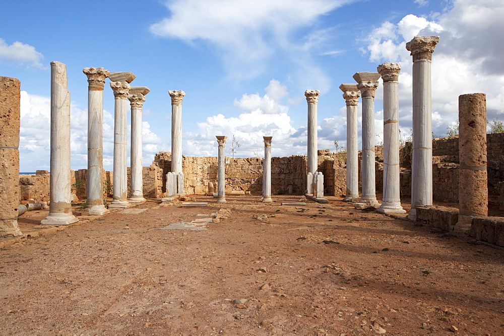 In the central basilica, Apollonia Cyrenaica, Libya, North Africa, Africa