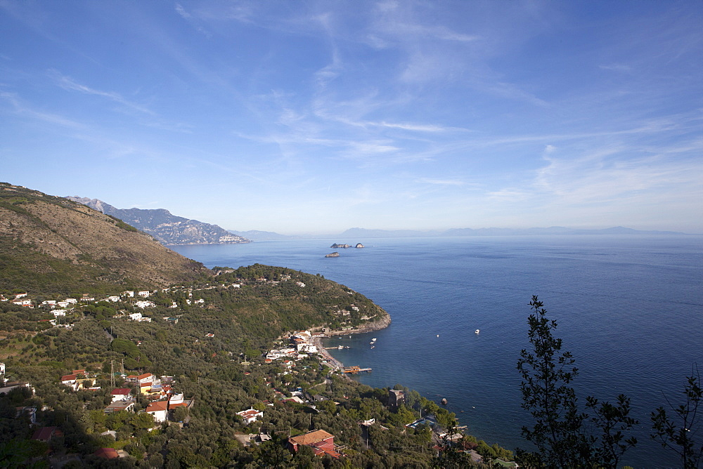 View of the entire Amalfi Coast, UNESCO World Heritage Site, from the top of the Ieranto Bay, Campania, Italy, Mediterranean, Europe  - 739-1284