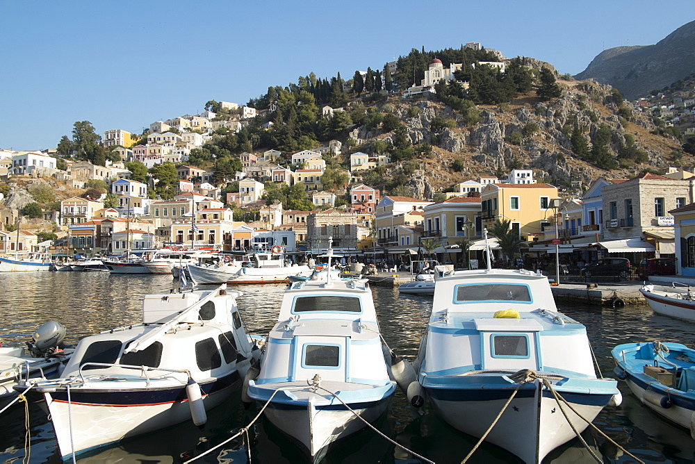 The port of the island of Symi, Dodecanese, Greek Islands, Greece, Europe