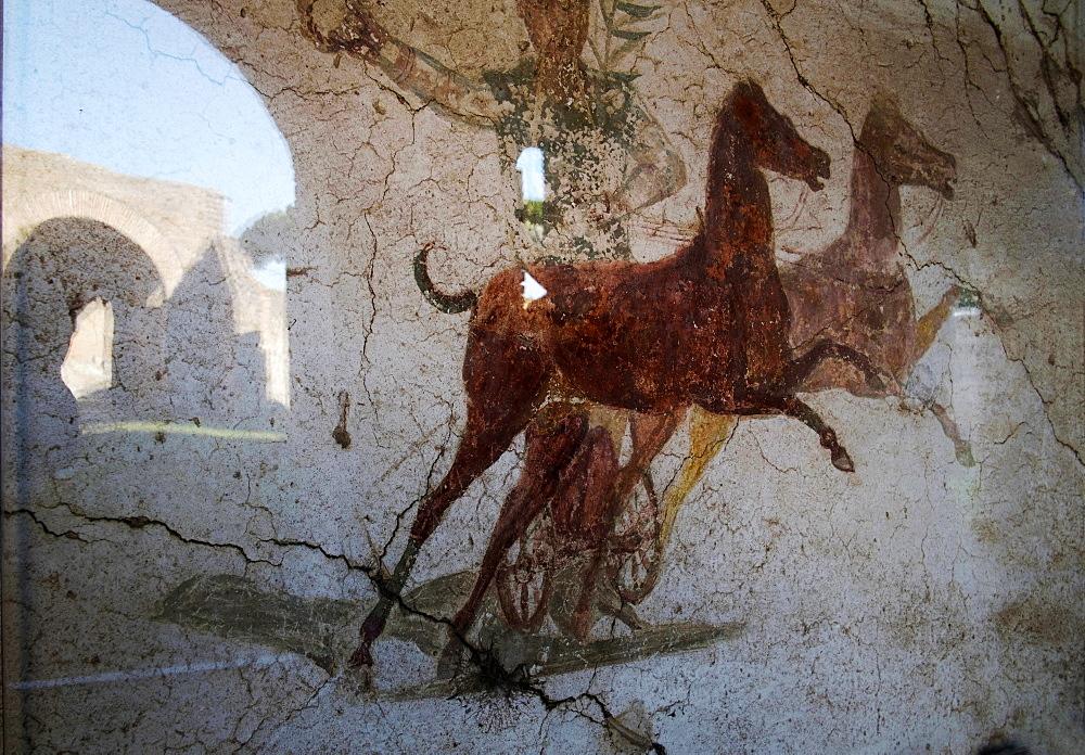 Roman chariot fresco, Ancient Ostia (Ostia Antica), Rome, Lazio, Italy, Europe - 739-1326