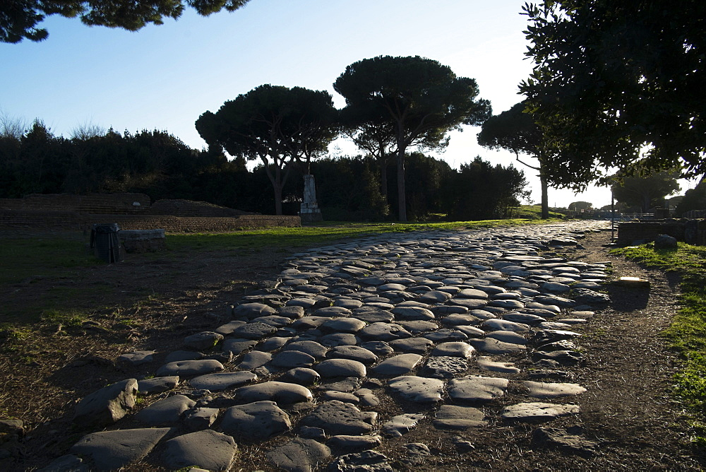Main Decumano in the high street, Ancient Ostia (Ostia Antica), Rome, Lazio, Italy, Europe