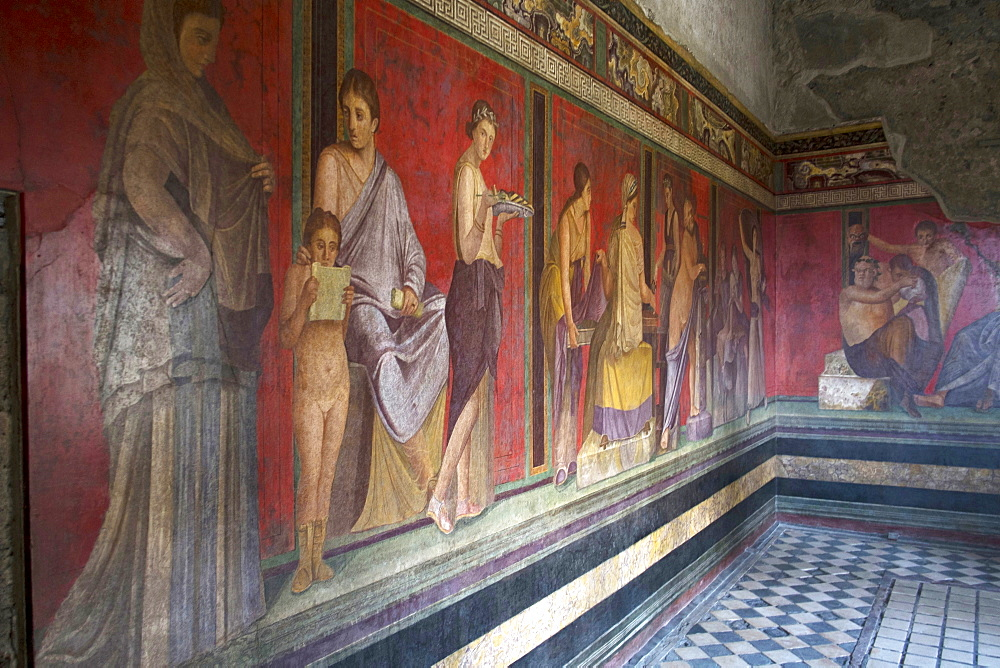 In the Triclinium, Villa dei Misteri, Pompeii, UNESCO World Heritage Site, Campania, Italy, Europe