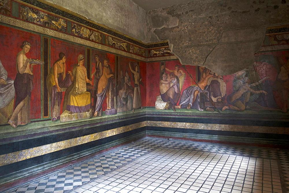 Triclinium frescoes, Villa dei Misteri, Pompeii, UNESCO World Heritage Site, Campania, Italy, Europe - 739-1337