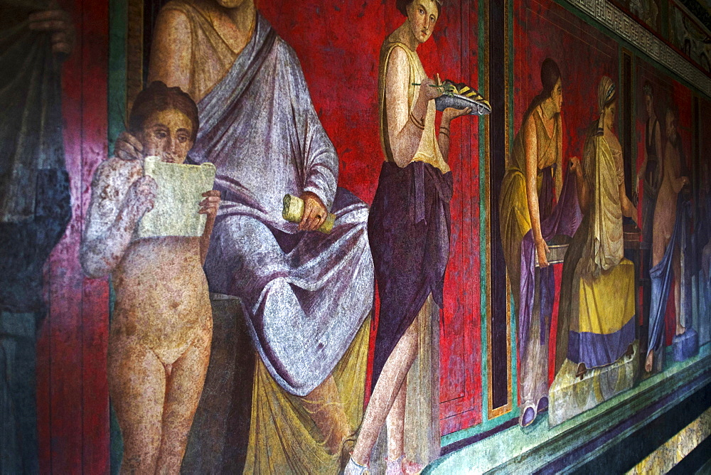 The Baccantis in the Triclinium In the Villa dei Misteri, Pompeii, UNESCO World Heritage Site, Campania, Italy, Europe - 739-1338