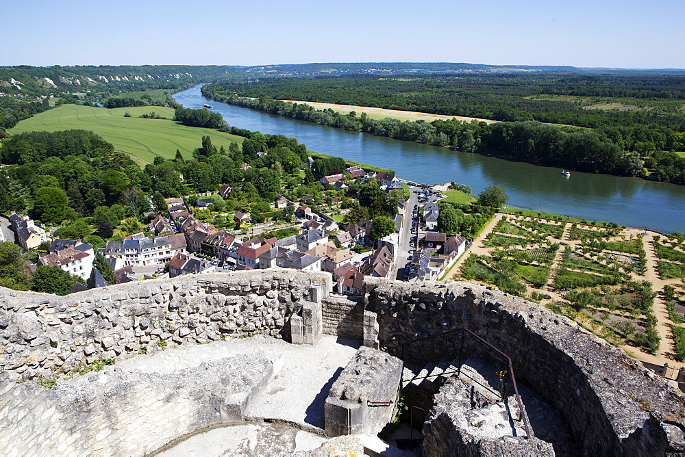 View of the River Seine from the Roche Guyon Castle, Normandy, France, Europe