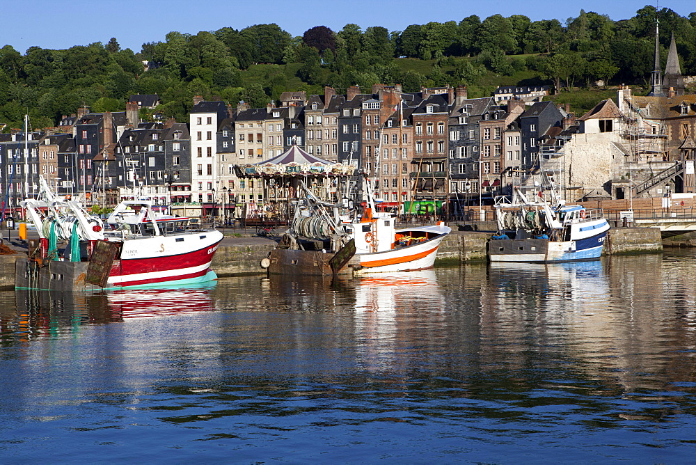 Traditional fishing boats in the harbour of Honfleur, Normandy, France, Europe - 739-1348