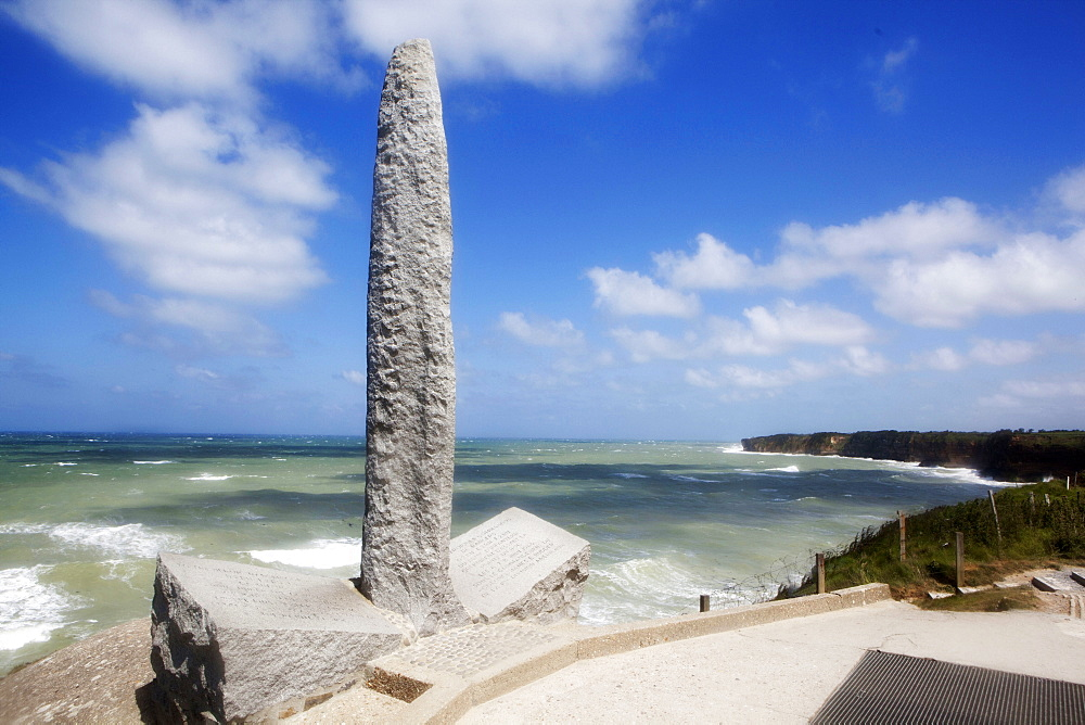 Memorial monument at Point du Hoc to D-Day landings, Normandy, France, Europe
