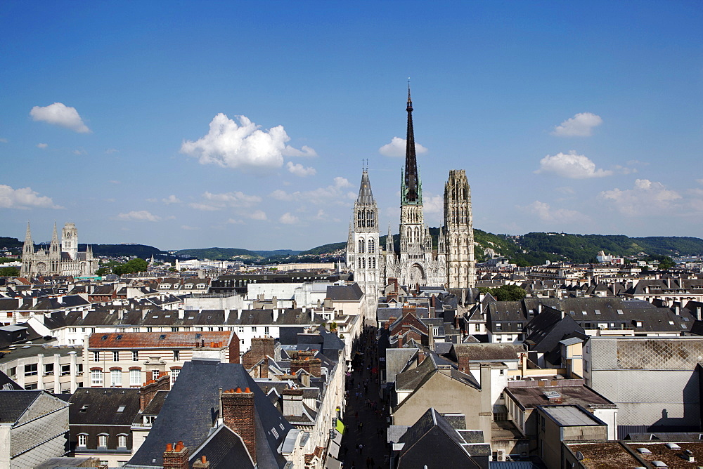 View of Rouen from the clock tower, Normandy, France, Europe