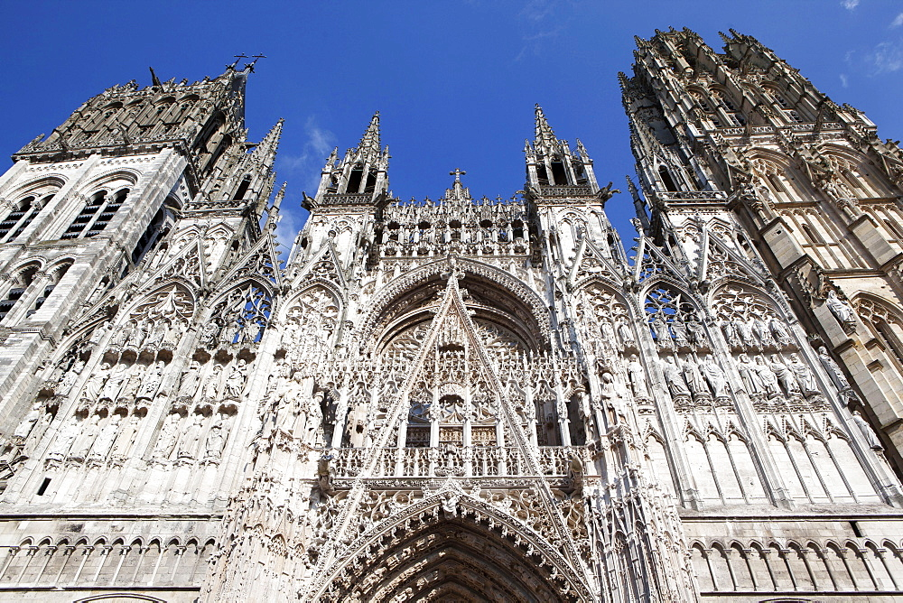 The glory of the Gothic style the facade of Rouen Notre-Dame Cathedral, Rouen, Normandy, France, Europe - 739-1358