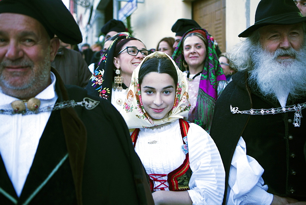 The crowd in traditional dress waiting for the passage of Saint Antioco, Sant'Antioco, Sardinia, Italy, Europe - 739-1373