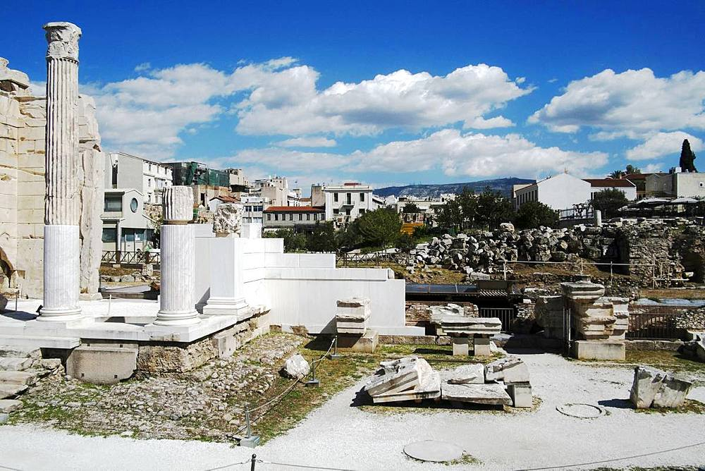 The Roman Agora by the Hadrian Library in the Plaka district, Athens, Greece, Europe - 739-1385