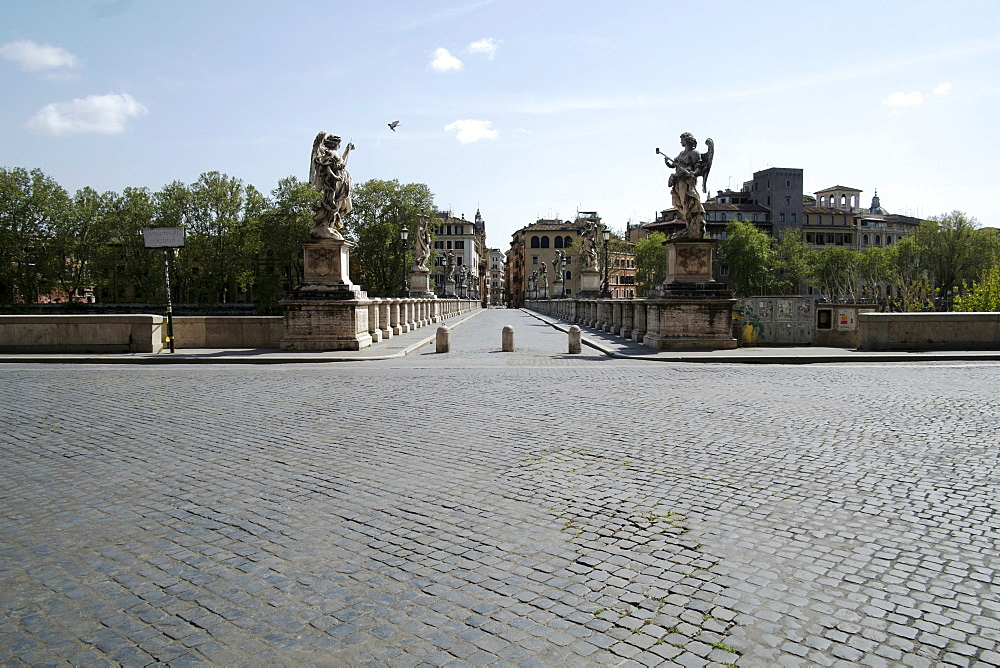 View of Saint Angelo's bridge, during 2020 Covid-19 lockdown, Rome, Lazio, Italy, Europe