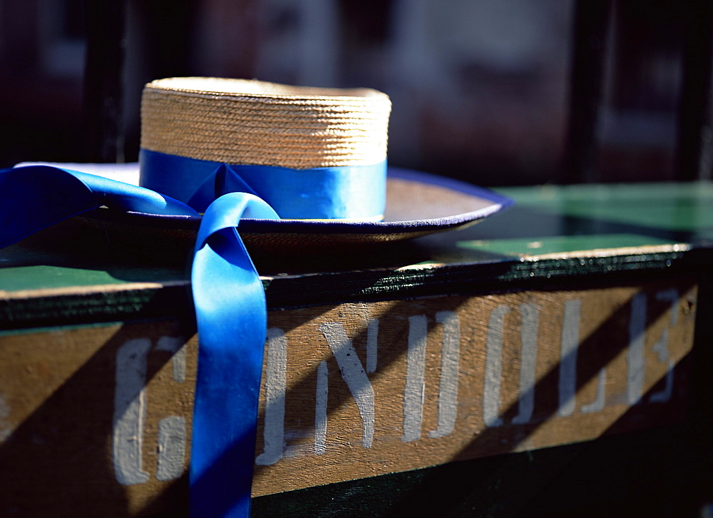 Close-up of gondolier's straw hat and blue ribbon, Venice, Veneto, Italy, Europe - 739-450