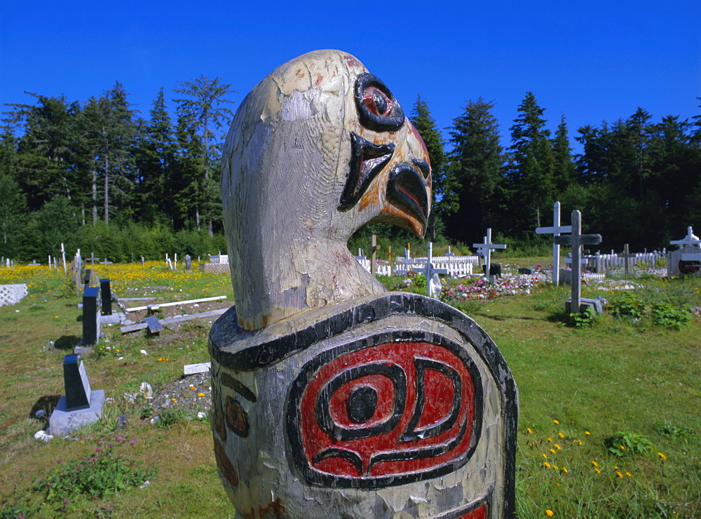 Haida cemetery, Queen Charlotte Islands, British Columbia (B.C.), Canada, North America