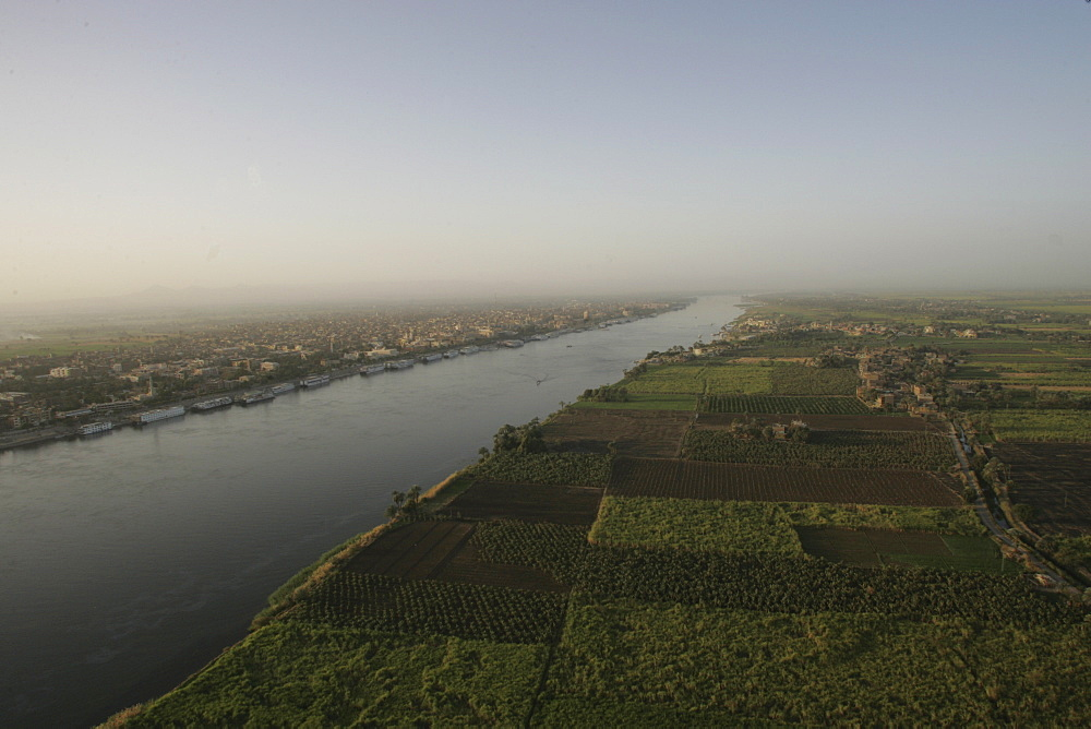 A view of the River Nile at sunrise, near Luxor, Egypt, North Africa, Africa
