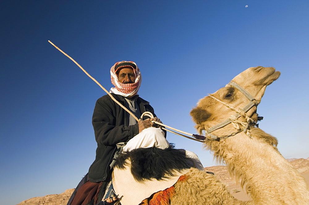 Bedouin on camel in the desert, Wadi Rum, Jordan, Middle East