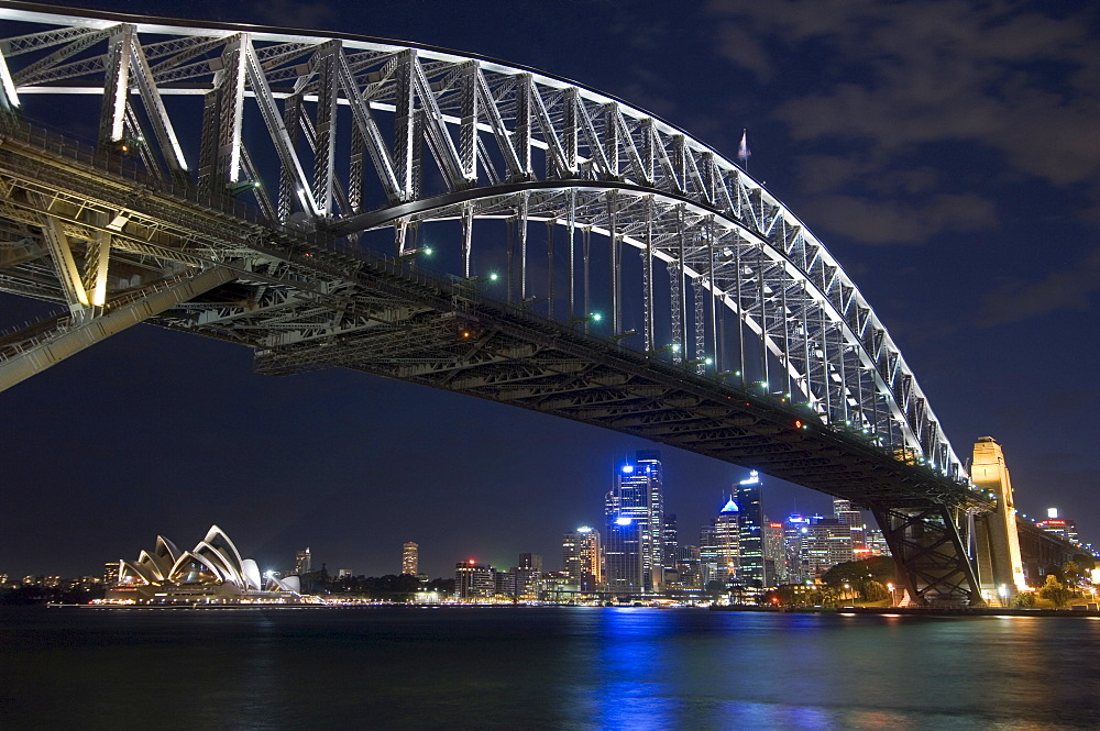 Opera House and Harbour Bridge at night, Sydney, New South Wales, Australia, Pacific