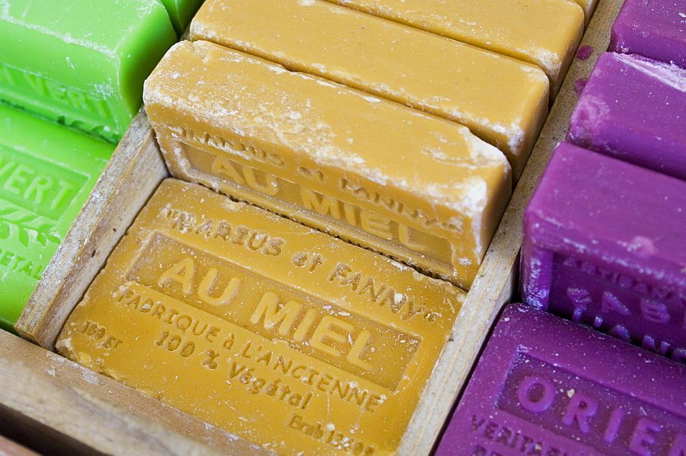 Marseille soap, Marche aux Fleurs, Cours Saleya, Nice, Alpes Maritimes, Provence, Cote d'Azur, French Riviera, France, Europe