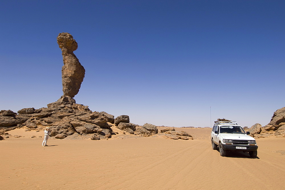 Rock formation called The Finger of Allah, Akakus, Sahara desert, Fezzan, Libya, North Africa, Africa