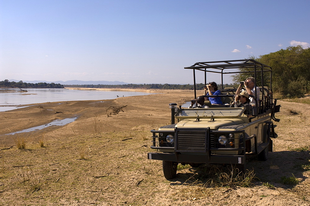 Game spotting on safari, South Luangwa National Park, Zambia, Africa