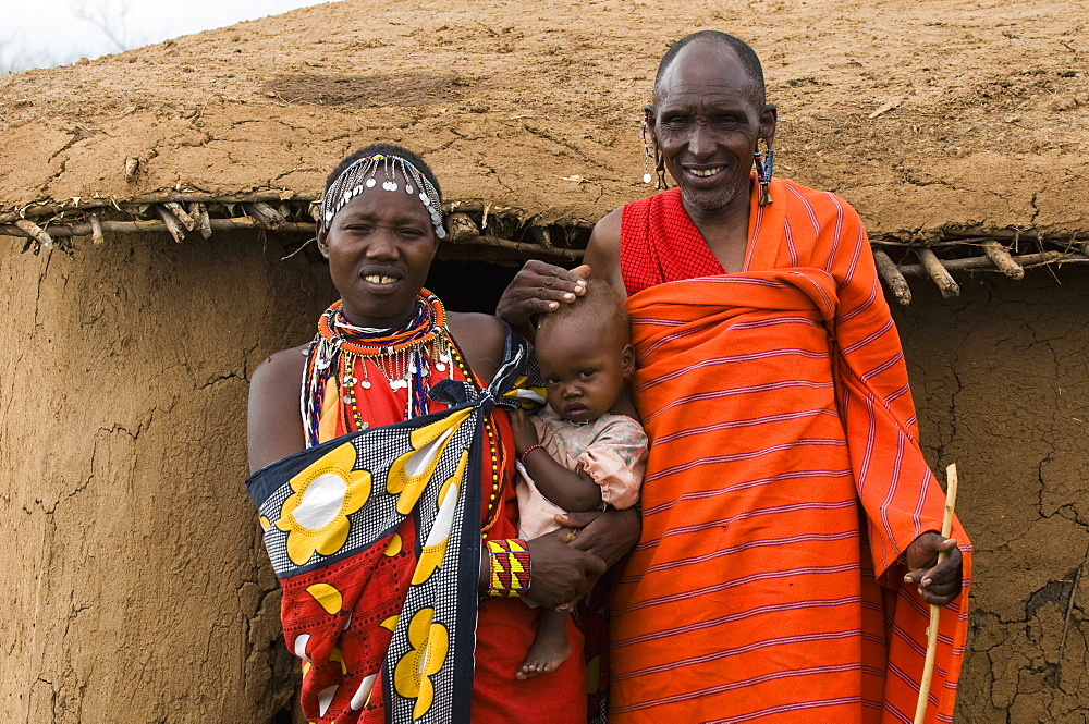 Masai family, Masai Mara, Kenya, East Africa, Africa - 741-3292