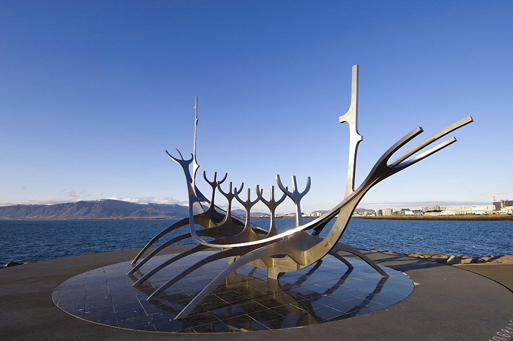 Sculpture of a Viking ship by Jon Gunnar Arnason, Reykjavik, Iceland, Polar Regions