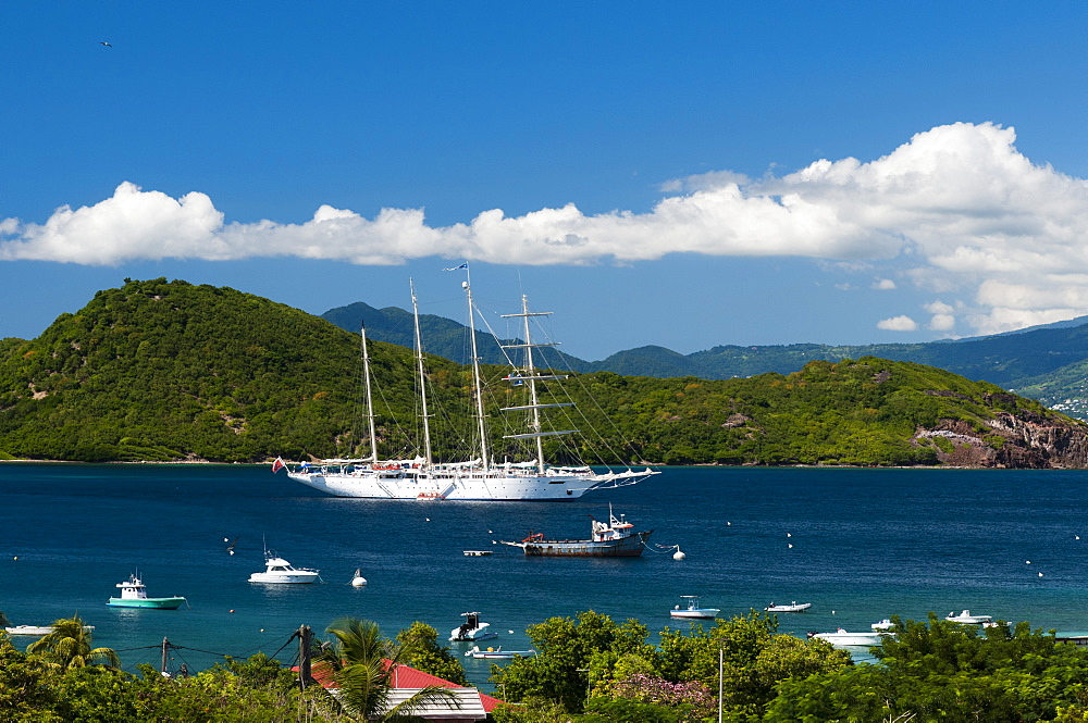 Star Clipper sailing cruse ship, Le Bourg, Iles des Saintes, Terre de Haut, Guadeloupe, West Indies, French Caribbean, France, Central America