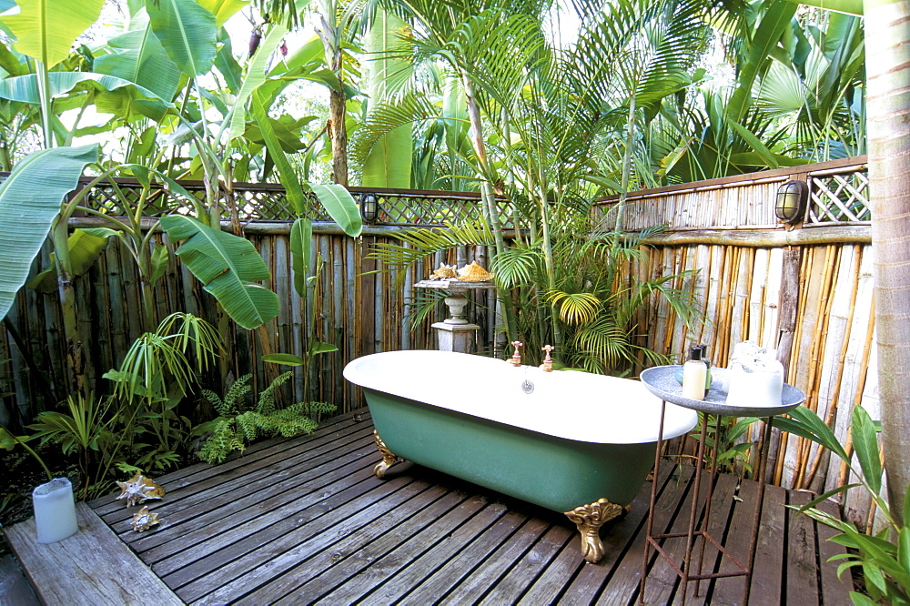 Open air bath at luxury hotel, formerly Ian Fleming's house, Goldeneye, Ocho Rios, St. Mary, Jamaica, West Indies, Central America