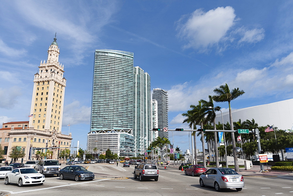 Freedom Tower and modern buildings along Biscayne road, Downtown, Miami, Florida, United States of America, North America