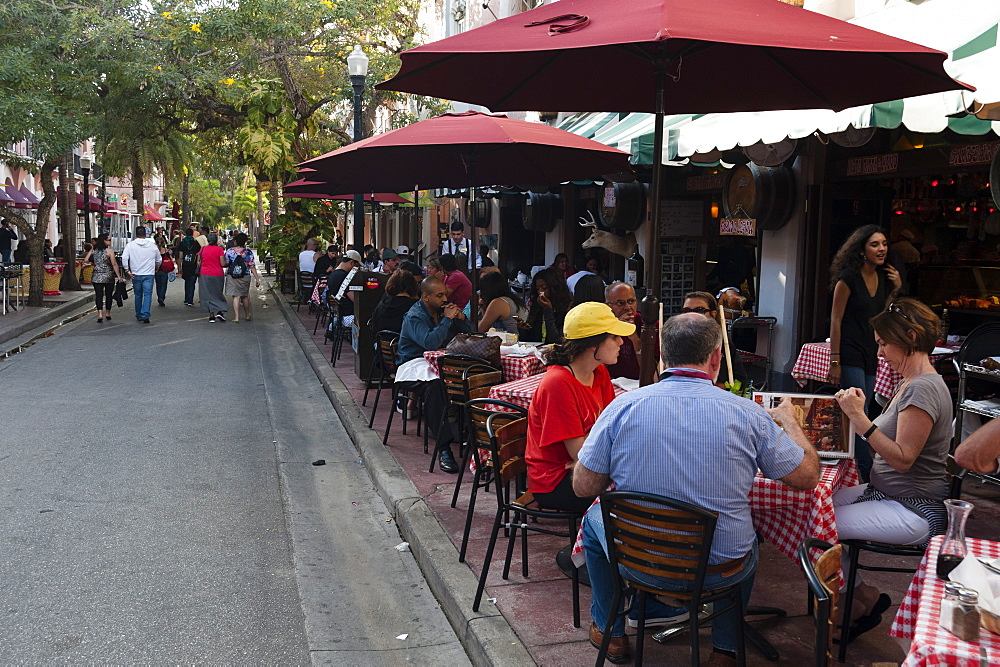 Outdoor cafe in Espanola Way, South Beach, Miami Beach, Florida, United States of America, North America