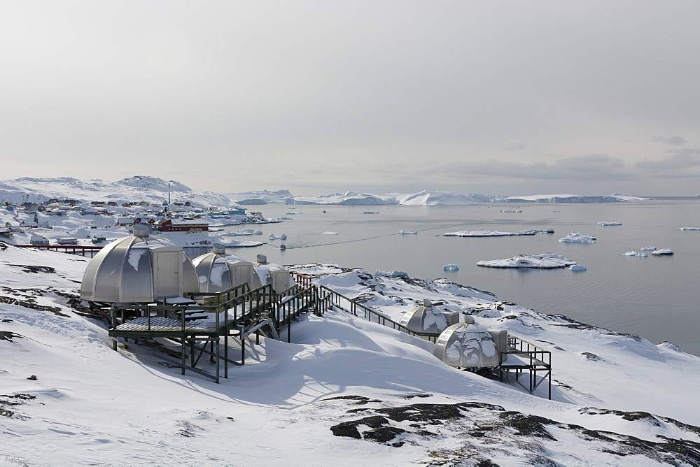 Igloos outside the Arctic Hotel in Ilulissat, Greenland, Denmark, Polar Regions