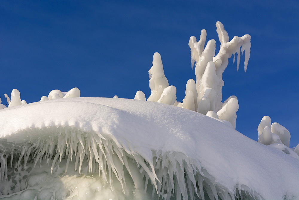 Detail of ice formations along Tornetrask Lake bank, Abisko National Park, Sweden.