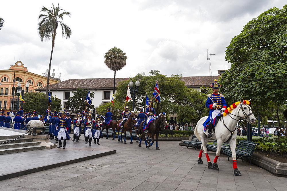 The Presidential Parade at the Plaza de la Independencia, Quito, Ecuador, South America