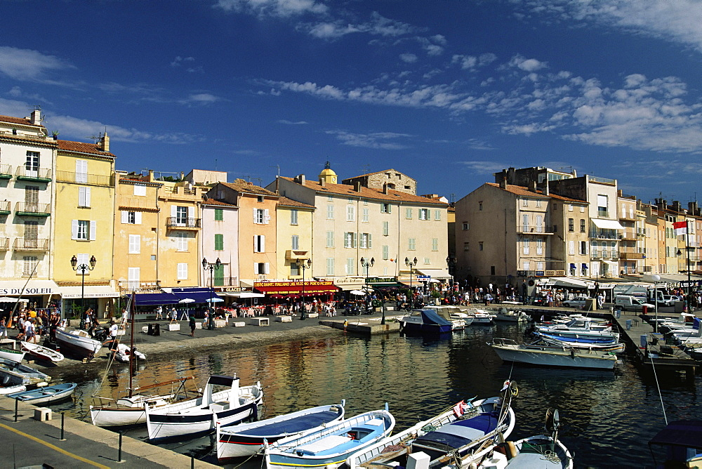 Boats and waterfront, St. Tropez, Var, Cote d'Azur, Provence, French Riviera, France