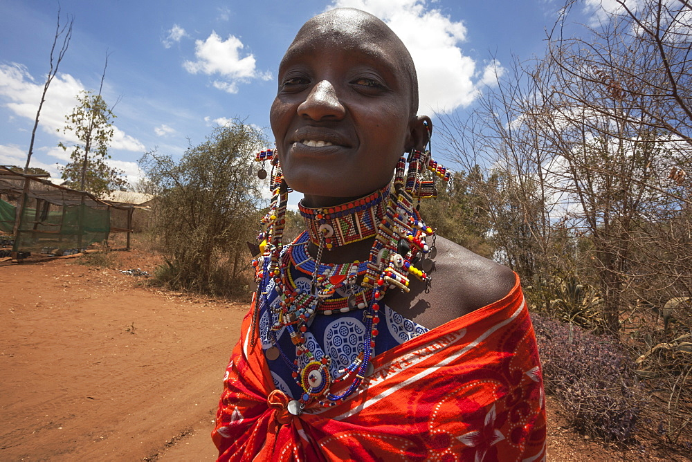 Maasai woman at the Predator Compensation Fund Pay Day, Mbirikani Group Ranch, Amboseli-Tsavo eco-system, Kenya, East Africa, Africa