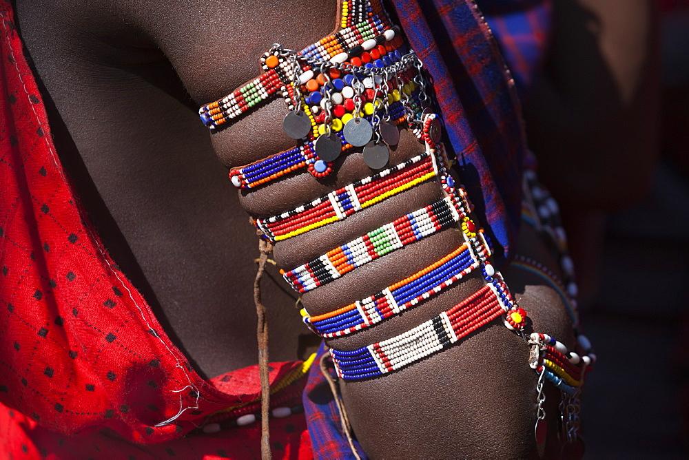 Maasai beadwork at the Predator Compensation Fund Pay Day, Mbirikani Group Ranch, Amboseli-Tsavo eco-system, Kenya, East Africa, Africa
