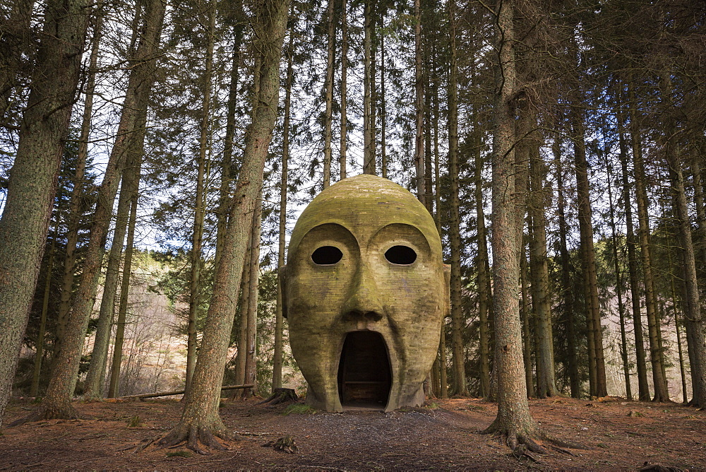 Silva capitalis, forest head sculpture, part of Kielder Water and Forest Park art trail, Northumberland, England, United Kingdom, Europe