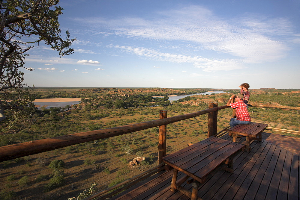 Mapungubwe National Park, confluence viewpoint overlooking Limpopo and Shashi river confluence, Limpopo Province, South Africa, Africa