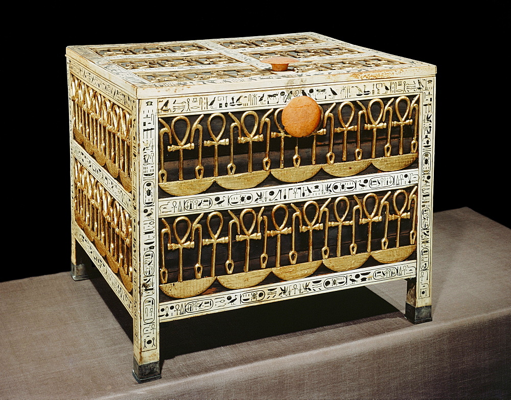 Coffer from the treasury, made from wood and ivory with applied gold and silver, from the tomb of the pharaoh Tutankhamun, discovered in the Valley of the Kings, Thebes, Egypt, North Africa, Africa