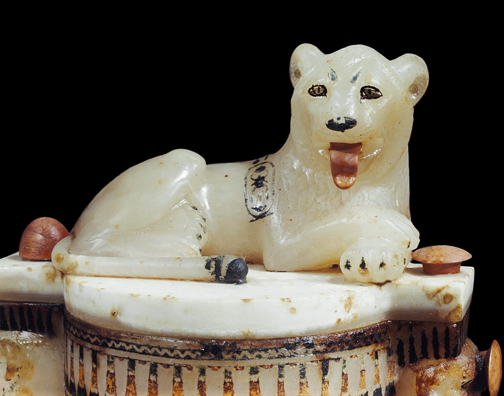 Detail of a painted alabaster unguent jar, from the tomb of the pharaoh Tutankhamun, discovered in the Valley of the Kings, Thebes, Egypt, North Africa, Africa