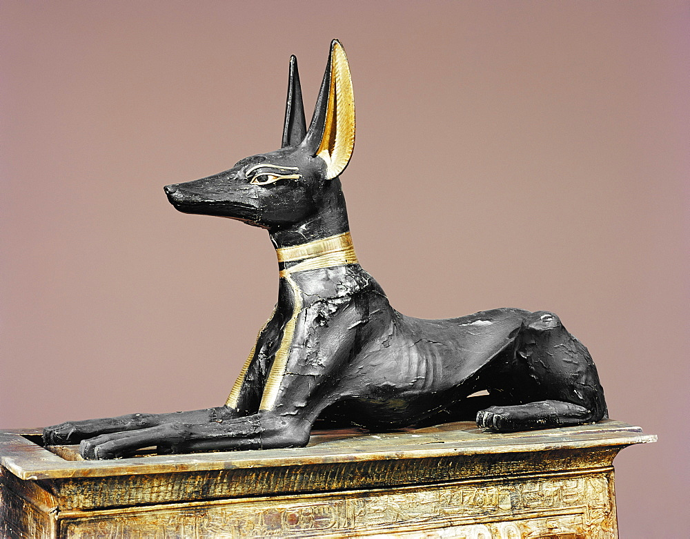 The king in the form of the god Anubis, from the tomb of Tutankhamun, discovered in the Valley of the Kings, Thebes, Egypt, North Africa, Africa