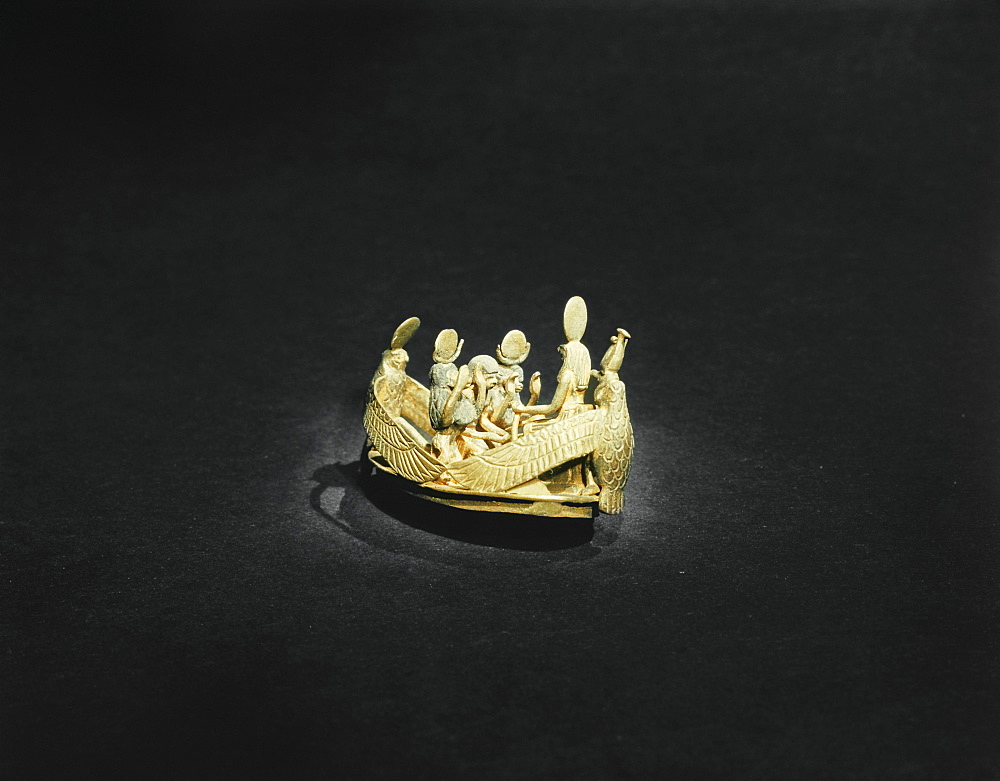 Bezel of a ring showing the king venerating the sun-god, from the tomb of the pharaoh Tutankhamun, discovered in the Valley of the Kings, Thebes, Egypt, North Africa, Africa
