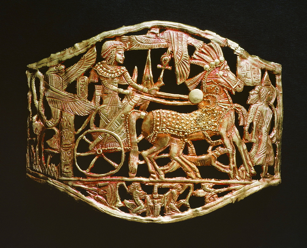 Red-gold openwork object, from the tomb of the pharaoh Tutankhamun, discovered in the Valley of the Kings, Thebes, Egypt, North Africa, Africa